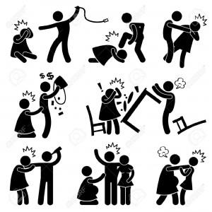 17968703-Mari-violent-b-ton-Helpless-Wife-Pictogramme-figure-Ic-ne-Banque-d'images